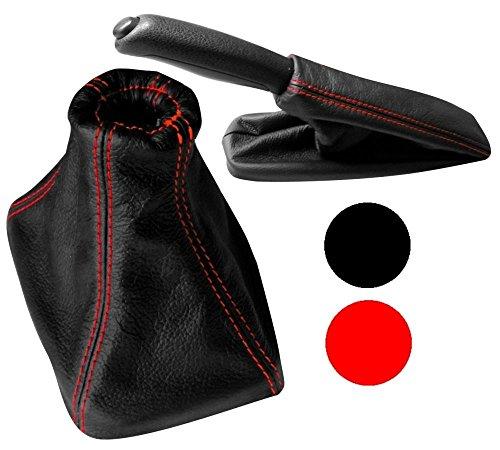 Cuffia leva cambio in pelle sintetica nero con cuciture rosse AERZETIX