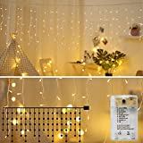 Areskey Icicle Lights,10Ft 90 LED Window Curtain String Light,8 Modes USB Battery Operated,Waterproof Fairy String Lights for Indoor Outdoor Wedding Party Home Garden Bedroom Decoration,Warm White