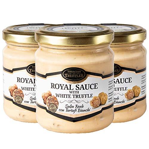 White truffle sauce ? ROYAL ? Witte truffelsaus Tuber borchi en Tuber Magnatum Pico met Room en Kaas, Ideaal voor Vlees, Gegrild Brood, Omeletten, Pasta, Risotto, Sushi 3 x 180g