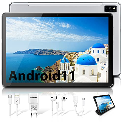 Blackview Tab10 Tablet 10.1 Pollici FHD LTE + WIFI, Android 11 4GB RAM + 64GB ROM 128GB, Octa Core Tablet Batteria 7480mah, Fotocamera 13MP+8MP, 1920*1200, Dual SIM Face ID GPS Bluetooth OTG (argento)