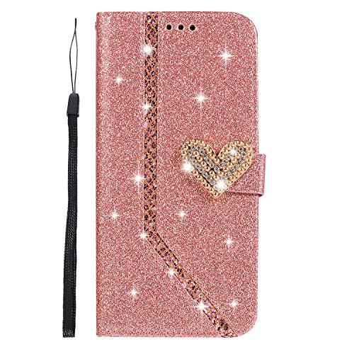 Ukayfe Custodia Cover Compatibile con Samsung Galaxy S9 Plus, Glitter Brillantini Diamante Amare Flip Caso Custodia in Pelle PU Portafoglio con Interno Rosa TPU Protettiva Cover-(Oro Rosa)