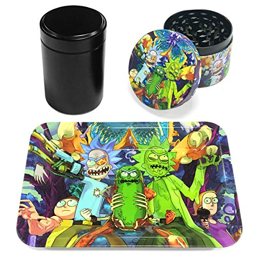 Metal Rolling Tray Combo Kit with Aluminum Herb Grinder,Smell Proof Jar Set…