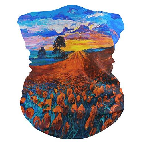 CPYang - Pañuelo de pintura al óleo, diseño de amapola, para cuello, polaina, máscara de polvo, multifuncional, diademas para deportes, yoga, correr, ciclismo, senderismo