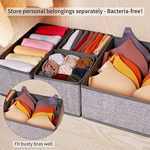 Criusia Underwear Drawer Organizer, 6 Set Foldable Underwear Drawer Organizer and Closet Dividers,Storage Box for Clothes, Socks, Underwear (6 Bins, Gray)