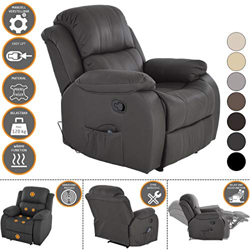 RABURG Fernsehsessel HANNE mit elektrischer Massage - Schlafsessel XXL mit mechanischer Liege- & Relaxfunktion Easy-Lift, aus Soft-Touch-Mikrofaser in SCHIEFER + leichte Wärme-Funktion