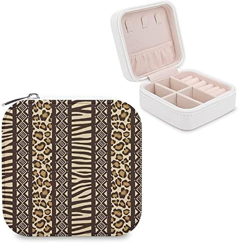 CHENWE Caja organizadora de viaje de joyería de animales africanos organizador de joyas Mini portátil de almacenamiento de joyas para mujeres