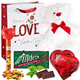 Valentines Day Gift Basket Set | Teddy Bear Plush, Elmer Chocolate Heart-Shaped Box, Andes Creme De Menthe Thin Mints, Hershey Reeses Pieces & V-Day Gift Bag (LOVE)