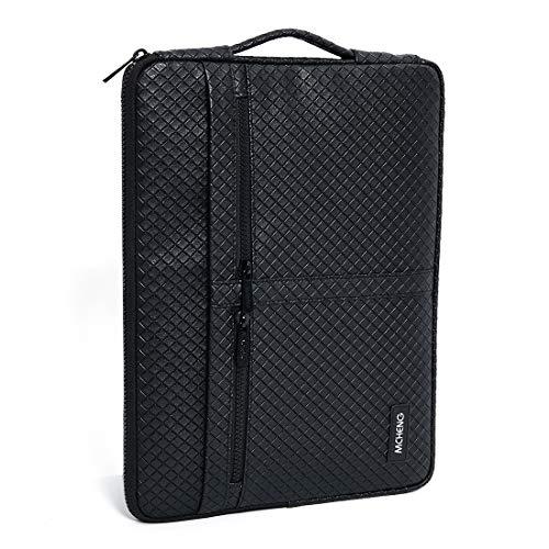 MCHENG Tasche Sleeve Hülle Multifunktionshülsen Spritzwasserfest Laptoptasche Handtaschen mit Zusätzlichem Stauraum PU Hülle für 15-15,6 Zoll MacBook Pro, Notebook Computer, Schwarz