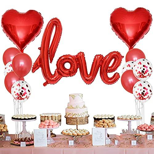 Set di Decorazioni romantica, Love XXL Rosso, Palloncini a Forma di Cuore, Lattice Palloncini, Palloncini Coriandoli - San Valentino, matrimonio, sposa, anniversario, fidanzamento, compleanno