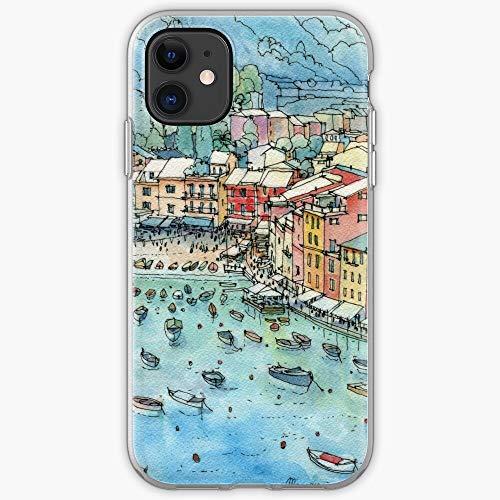 5TheWay Landscape Genoa Portofino Liguria Italy Custodia Protettiva per Telefono con Design a Scatto/Vetro per iPhone, Samsung, Huawei - TPU Antiurto per Interni protettivi