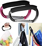 Large Stroller Hooks for Mommy, 2 pcs Carabiner Stroller Hook Organizer for Hanging Purses, Diaper Bag, Shopping Bags. Clip Fits Single/Twin Travel Systems, Car Seats and Joggers (Black+Rose)
