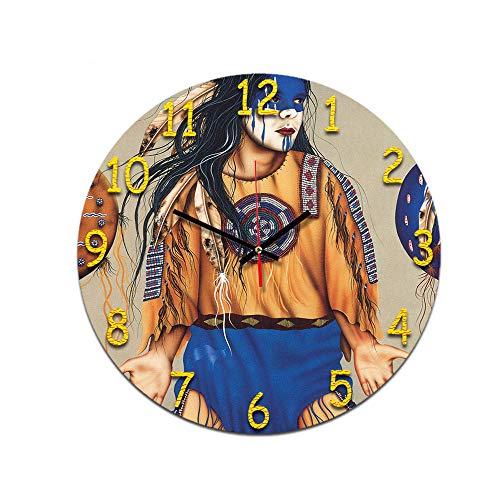 LUOYLYM Afro Hombres Y Mujeres Sala De Estar Reloj De Pared Retro Digital Acrílico Mudo Hogar Reloj De Moda Creativo Despertador Sin Bordes P190430-173 28CM