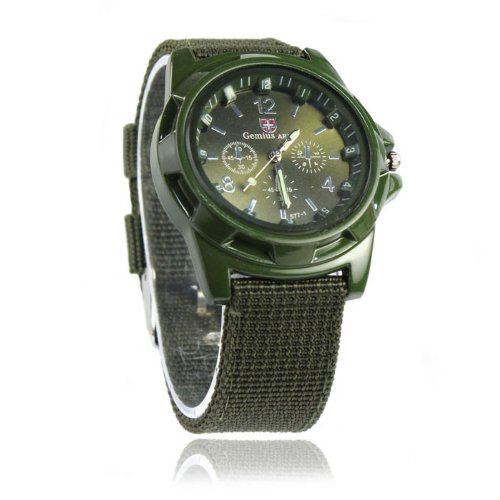 ALIKEEY Herren Chronograph Quarzwerk Gemius Army Racing Force Militär s Fabric Band Grün Uhr mit Metall Armband