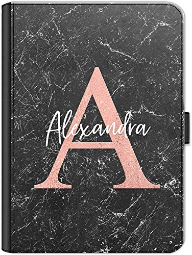 Personalised Initial Case For Apple iPad (2019) 10.2 inch (7th Generation), Black Marble Print with Pink Initial and White Name, 360 Swivel Leather Side Flip Wallet Folio Cover, Marble Ipad Case