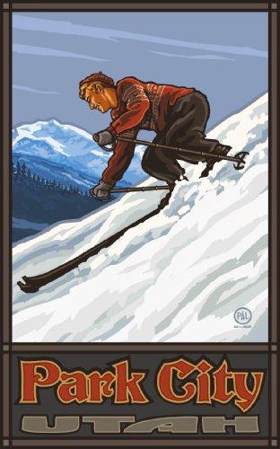 Northwest Art Mall Park City Utah Downhill Skier Man, Kunstwerk, von Paul A Lanquist, 28 x 43 cm