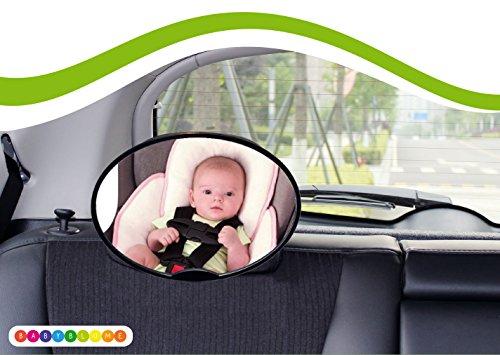 Rücksitzspiegel für Babys, Universal Autositz, Rückspiegel Baby Auto, Ideal als Ergänzung zu Reboard Kindersitzen und Babyschalen, Babyblume, Oval