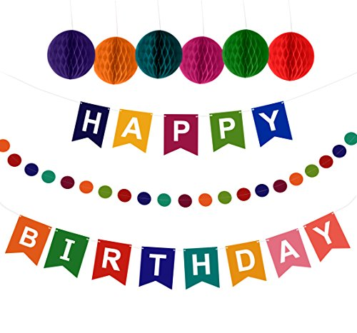 Artistrend Happy Birthday Banner Decorations Set with Colorful Pom Pom Balls & Garland