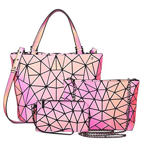 LOVEVOOK Geometrische Taschen Set, Holographic Damen Handtasche Umhängetasche Geldbörse Set, Leuchtend Cool Bunt Tasche Shopper Crossbody Bag für Alltag, Party Reise, Rot
