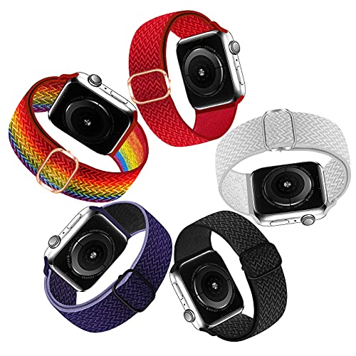 Chinbersky 5 Pack Solo Loop Straps Compatible with Apple Watch Strap 42mm 44mm 45mm for Men Women, Braided Elastic Sport Replacement Band for iWatch Series 7/6/5/4/3/2/1/SE