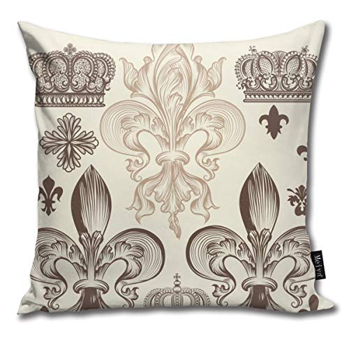 Elsaone Fleur De Lis and Crowns Throw Pillow Covers Car Sofa Cushion Cover Pillowcases Home Decor 18 x 18 Inch 45 x 45 cm