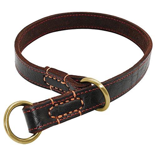 LSHMSN Collar De Cuero, Durable del P Choke Collares para Mascotas Entrenamiento Ajustable para La Mediana Grande Perros Pitbull Labrador,Marrón,0~54cm