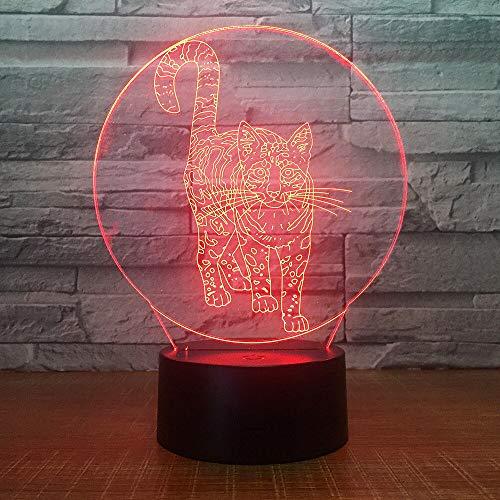 jiushixw 3D acryl nachtlampje met afstandsbediening van kleur veranderende lamp kat maken uitrusting foto harde kop to tafel baby geschenk pot tafellamp