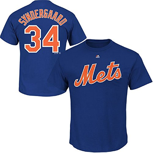 Majestic Noah Syndergaard Youth New York Mets Blue Name and Number Jersey T-Shirt Medium 10-12