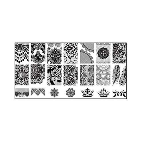 Nail Art Stamping Plaat kant bloemenpatroon Nail Art Polish Stamping Sjablonen (BC-03)