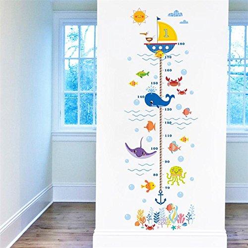 Pegatina pared vinilo decorativo medidor altura fauna marina para cuartos niños juegos guarderias colegios de CHIPYHOME