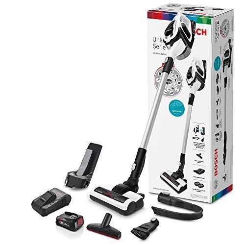 Bosch Unlimited Serie 8, Scopa Elettrica Ricaricabile, Aspirapolvere Multifunzione senza Fili e senza Sacco con due Batterie Intercambiabili Bosch Power For ALL, Bianco