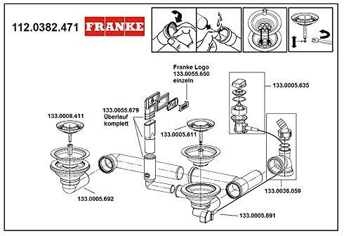 FRANKE 112.0382.471 Ablaufventil 3,5 Zoll für 1 1/2 Becken Siebkorb-/Excenterventil mit verdecktem Überlauf/Ersatzteil Spüle/Ablaufgarnitur