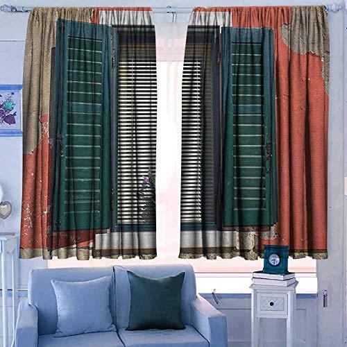 Rod Pocket Gordijnen voor kamer donkere panelen voor woonkamer slaapkamer landbeeld van de lente landschap in bos met vallend blad en diverse bomen Mod afdrukken bruin groen