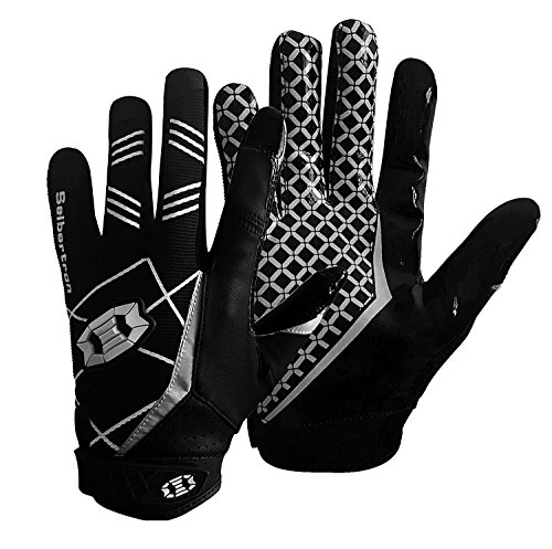 Seibertron Pro 3.0 Elite Ultra-Stick Sports Receiver Glove Football Gloves Youth and Adult (Black, L)