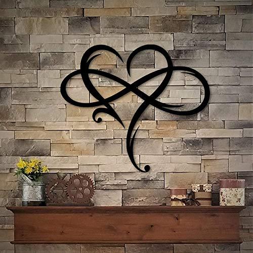 lefeindgdi Plaque murale en métal en forme de cœur avec symbole de linfini et cœur - Décoration murale en métal - Sculpture de mariage - Décoration dintérieur