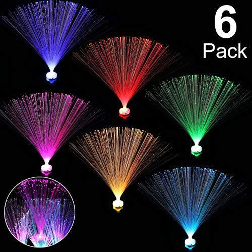 6 Stücke Glasfaser Farbwechsel LED Lampe, 7 Farben Betrieben Nachtlicht Beruhigend Lampe für Tisch Dekoration Wohnzimmer Lounges Schlafzimmer Geschenke und mehr