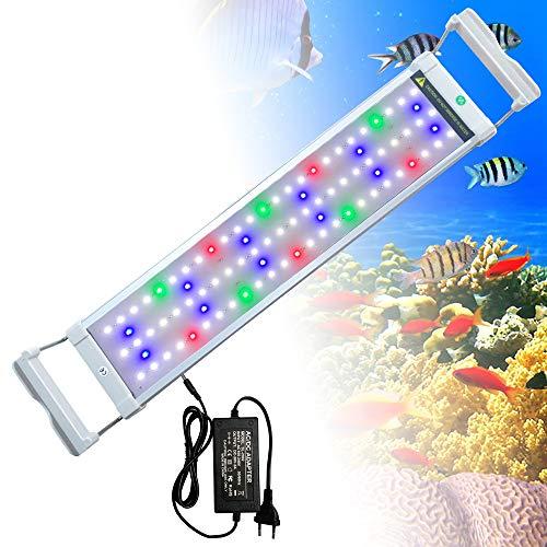 HENGMEI 11W Aquarium LED Beleuchtung Aquariumbeleuchtung mit 2 Lichtmodi Verstellbarer Halterung, LED Licht für Süßwasser-Aquarien, Blau und RGB Licht