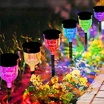 Solar Pathway Lights Outdoor, Waterproof Solar Garden Lights Color Changing Solar Landscape Path Lights Auto On/Off for Yard Lawn Patio Walkway Sidewalk Driveway (6 Pack)