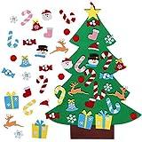 Árbol de Navidad de Fieltro, Árbol de Navidad Artificial de Fieltro 3.2 Pies 26 Pcs de Adornos Desmontables DIY Adornos Navideñas Decoración Regalo para Niños Pared de Puerta Decoración Colgante