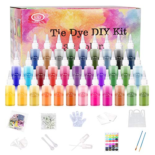 32 Colors Tie Dye Kit for Kids, Adults, Non-Toxic One Step Fabric Dye Shirt Dye Tie-dye Kits for Fabric Textile Art, Perfect for Girls Boys Family Friends Party Groups DIY Projects, Just Add Water!