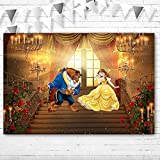 Happy Birthday Beauty and Beast Backdrop 5x3 Princess Belle Theme Tea Party Background Red Curtain Rose Palace Beauty and Beast Party Supplies Photography Backdrops for Wedding Picture Photobooth