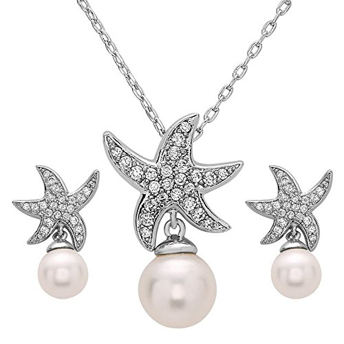 Cleo Classic Designs White Gold Plated Beach Wedding Starfish Cubic Zirconia Simulated Pearl Earring & Necklace Set (White Gold Plated)