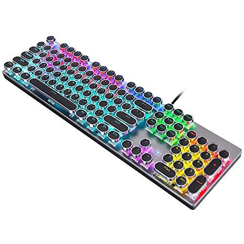 104-toetsen mechanisch toetsenbord, RGBLED kleurrijk backlight-lichteffect, blauwe schakelaar, zeer geschikt voor gamers/kantoormedewerkers