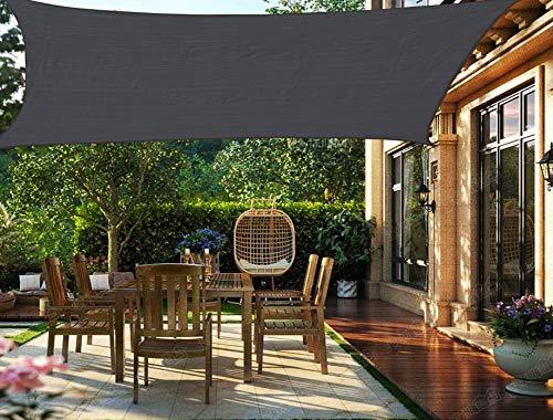 HENG FENG Toldo Vela de Sombra Rectangular 2 x 4 m Protección Rayos UV Solar Protección HDPE Transpirable Aislamiento de Calor para Dar Sombra a su Jardín Color Antracita