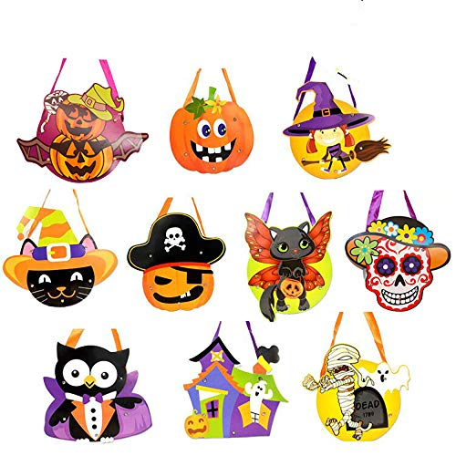 CHBOP 10 Stück DIY Tasche Bastelset für Kinder Allerheiligen Halloween Tasche für Bonbons