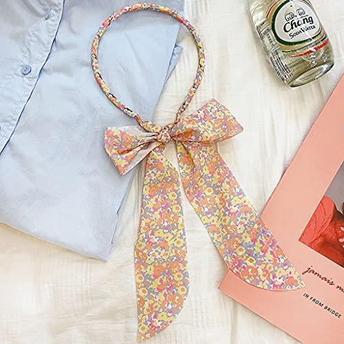NXYJD Frau Gedruckt Satin Haarband Band Bugen Perle Hairband Mädchen Haar Zubehör Frisur Haar Stirnband Femme Tiara (Color : C)