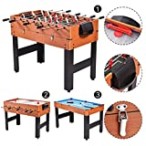 Apontus 48' 3-in-1 Multi Combo Game Table Foosball Soccer Billiards Pool Hockey for Kids
