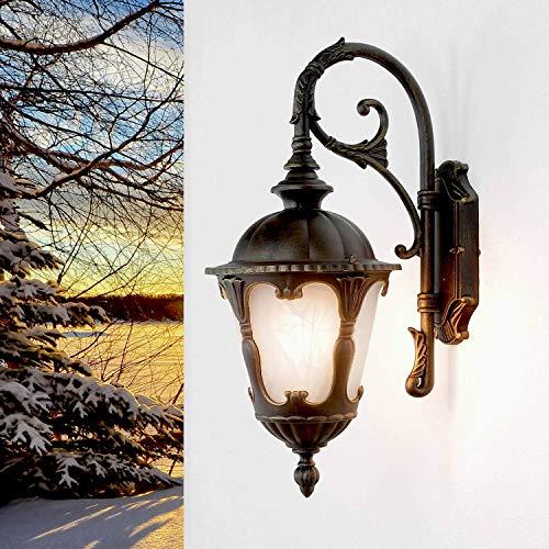 Wandleuchte aussen Lampe Gold 1x E27 bis zu 60W Laterne 46cm hoch Außen Lampe Garten Terrasse Hauswandleuchte