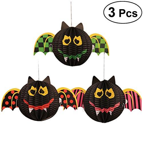 BESTOYARD Halloween Bat Laterne Hängen 3D Bat Papierlaterne Hängen Dekorationen für Party Club Pub 3 STÜCKE (Bat)