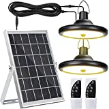 Upgraded Solar Lights Outdoor Indoor Motion Sensor with Dual Lamp JACKYLED Remote Control Solar Pendant Light Waterproof LED Hanging Shed Light with Adjustable Solar Panel for Home Porch, Warm White