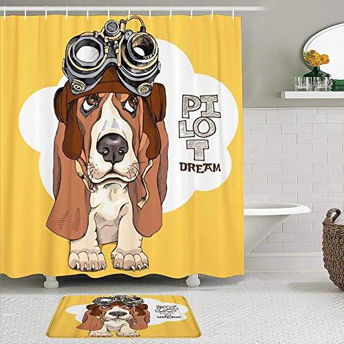 MIFSOIAVV Juego de Cortina de Ducha de2piezas con alfombras Antideslizantes,Retrato de Cachorro...